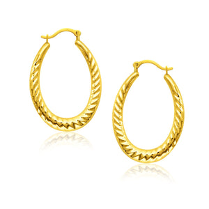 10K Yellow Gold Hoop Earrings with Textured Details