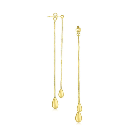 Unique Hollywood Style 14K Yellow Gold Double Strand Teardrop Dangling Chain Earrings