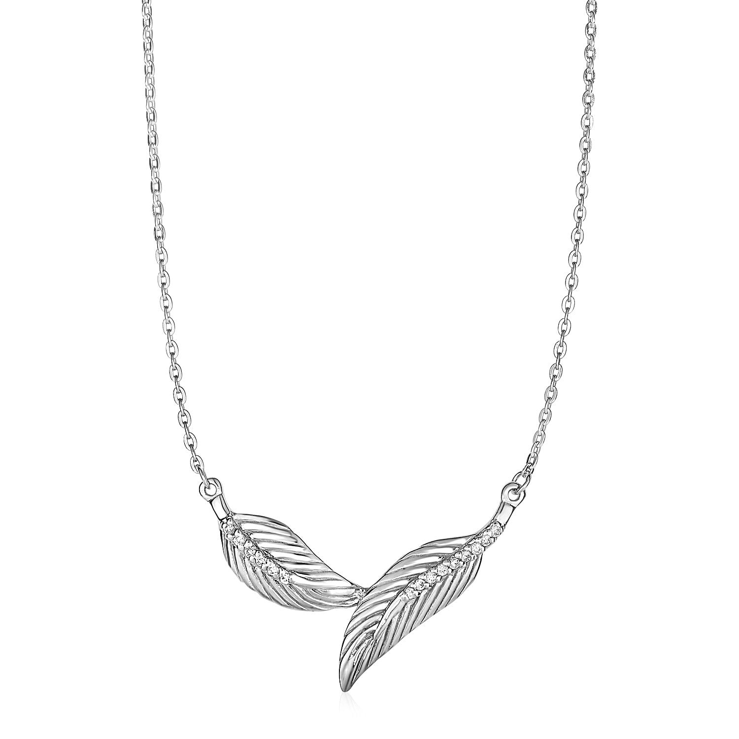 Necklace with Two Textured Leaves in Sterling Silver