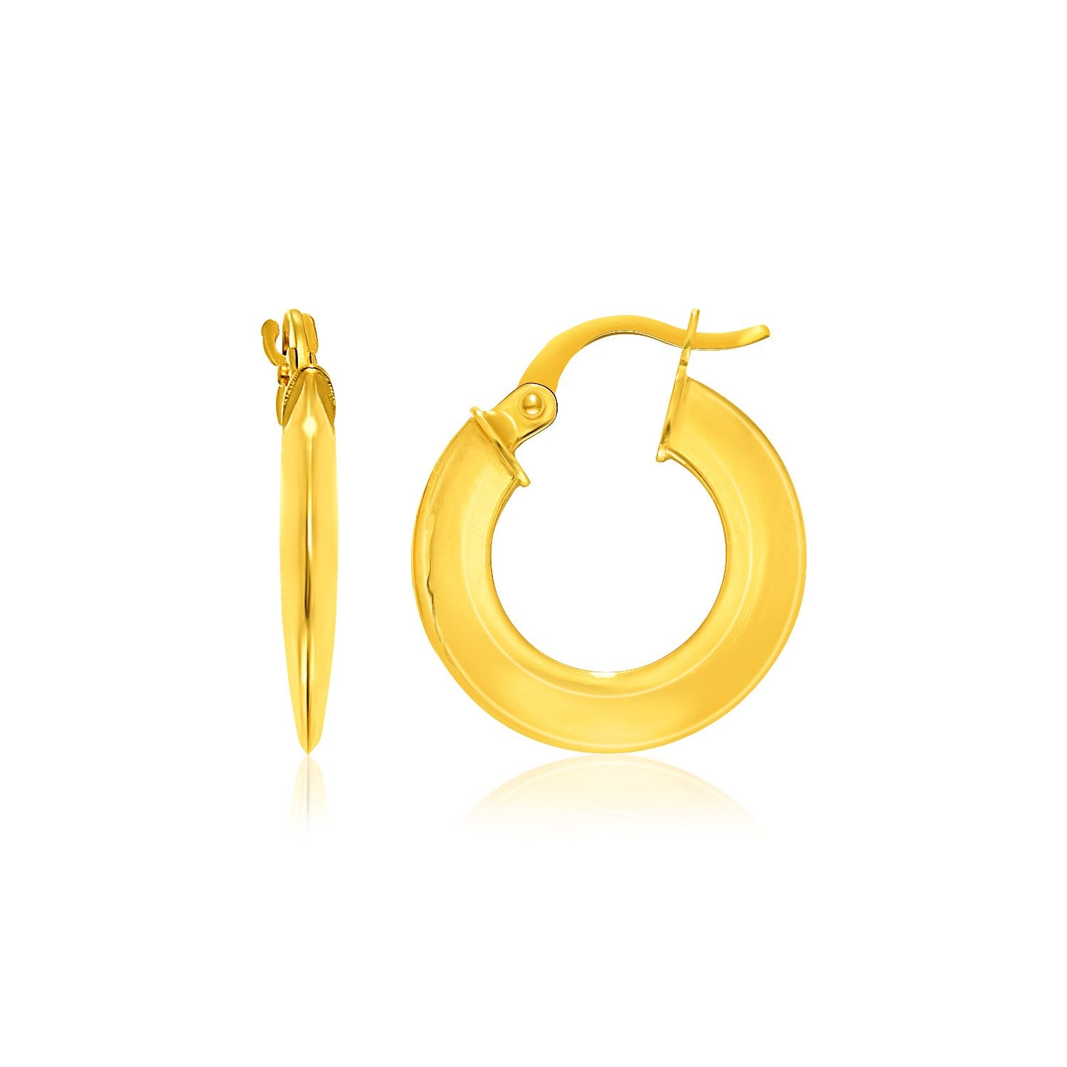 14K Yellow Gold Round Puffed Design Hoop Earrings