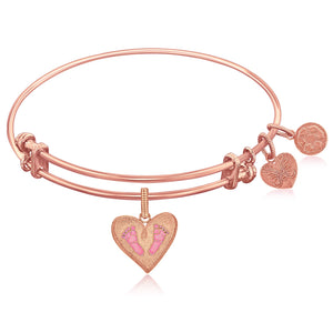 Expandable Pink Tone Brass Bangle with Pink Enamel Baby Foot Print Symbol
