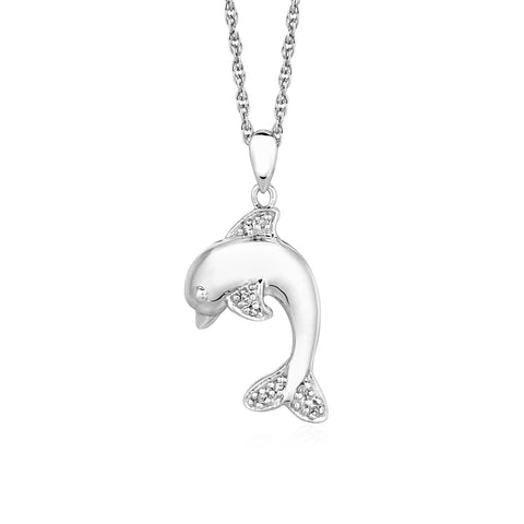 Distinctive Luxury London Style Dolphin Pendant with Diamonds in Sterling Silver