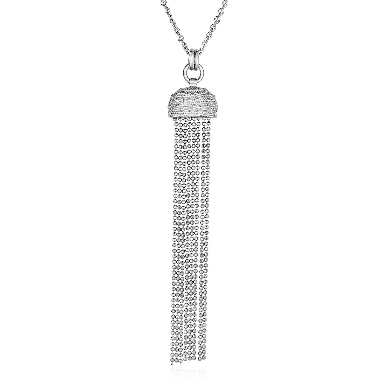 Unique Hollywood Style Necklace with Half Round and Multi Chain Pendant in Sterling Silver