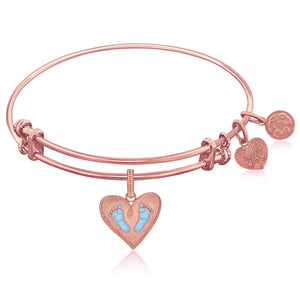Expandable Pink Tone Brass Bangle with Blue Enamel Baby Foot Print Symbol