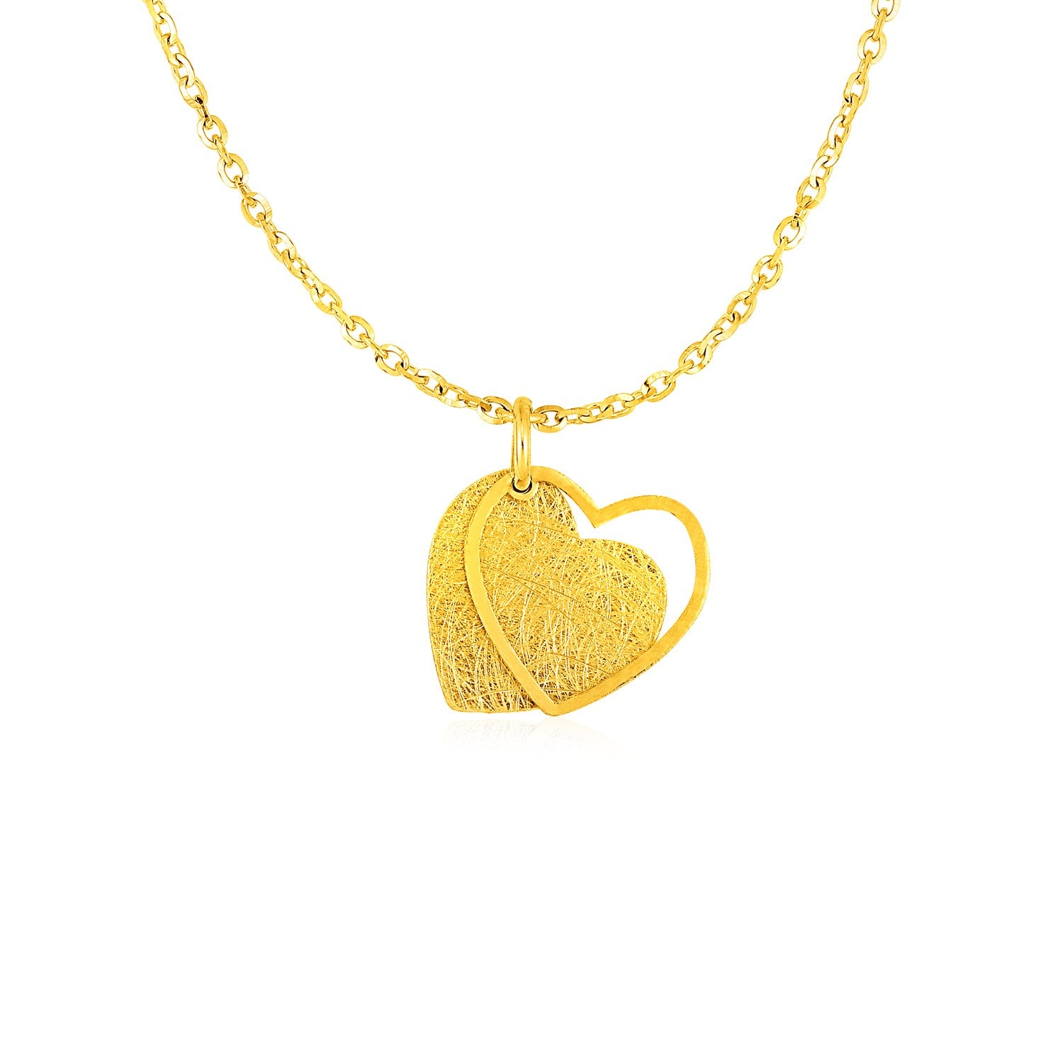 Original New York Style  Two Layer Heart Pendant in 14K Yellow Gold