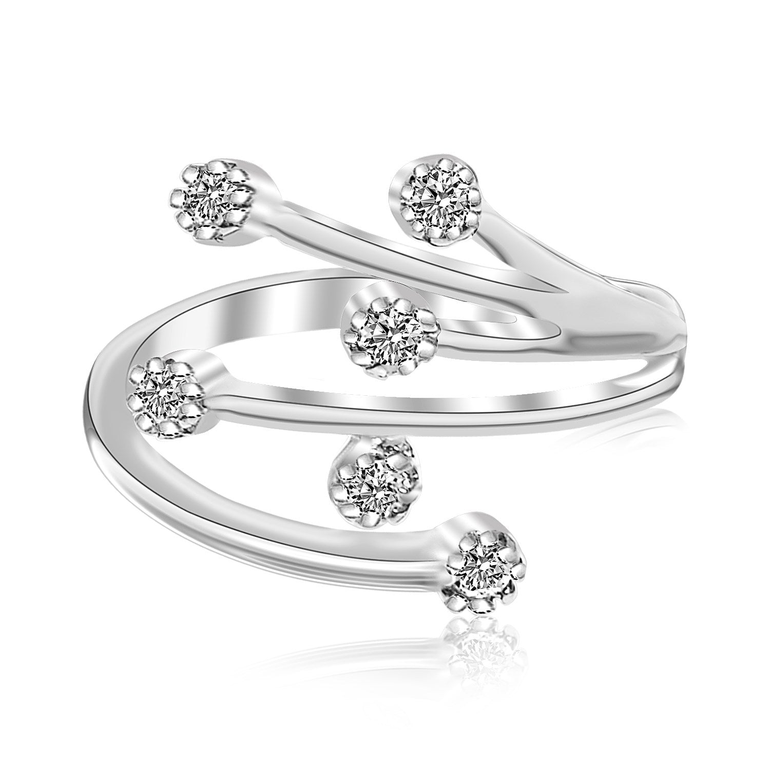Sterling Silver Rhodium Finished White Cubic Zirconia Embellished Toe Ring - Uniquepedia.com
