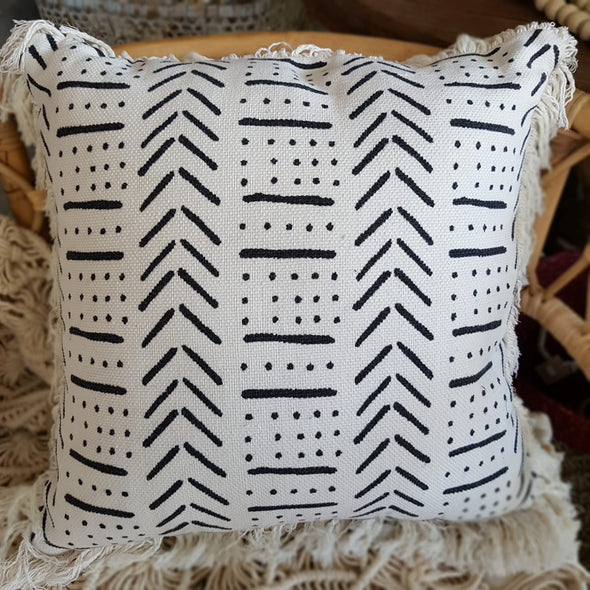 Soft Cotton Cushions With Printed Abstract Motif And Fringe - Canggu & Co