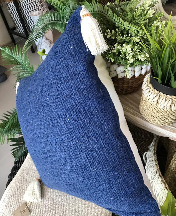 Plain Color Raw Cotton Cushions With Beaded Tassels - Canggu & Co