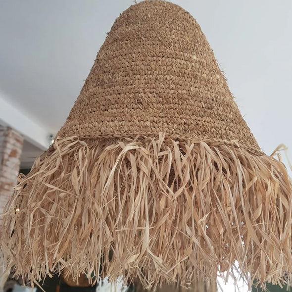 Natural Grass Cone Shaped Ceiling Lamp Shade - Canggu & Co