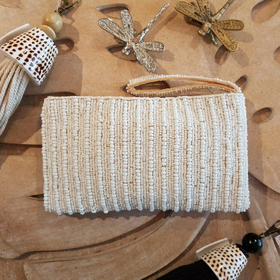 White Stripe Pattern Woven Beaded Clutch With Strap - Canggu & Co