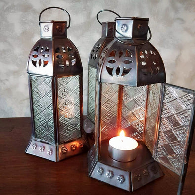 Small Lantern Style Antique Brass Candle Holders - Canggu & Co
