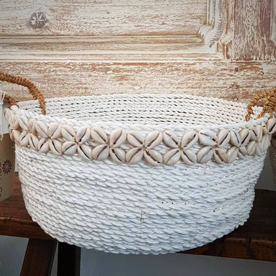 Medium Sized Round Synthetic Raffia And Sea Shell White Baskets - Canggu & Co