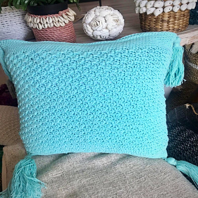 Classic Hand Knitted Cotton Cushion - Canggu & Co