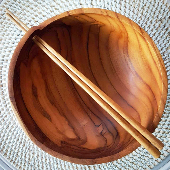 Natural Teak Noodle Bowls With Chop Sticks