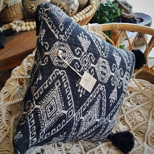Tribal Pattern Raw Cotton Cushion With Tassels - Canggu & Co