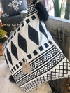 Black & White Boho Motif Cushions With Black Tassels - Canggu & Co