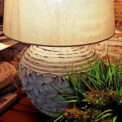 Large Whitewash Frangipani Pottery Table Lamp - Canggu & Co