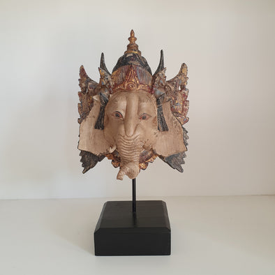 Carved Wooden Antique Ganesha Head - Canggu & Co