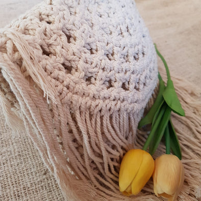 Woven Macrame Clutch With Long Fringe