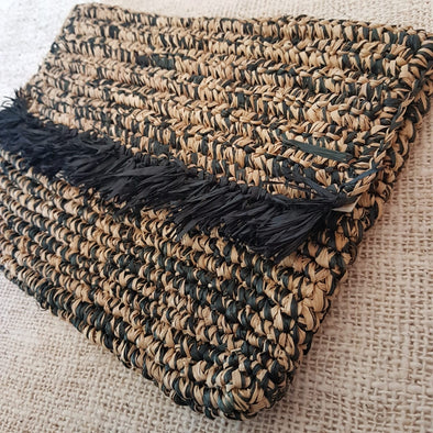 Black & Brown Woven Straw Grass Fold Clutch With Fringe - Canggu & Co
