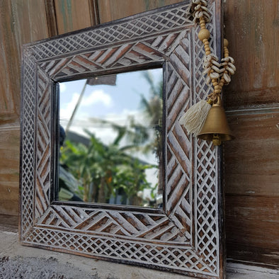 Small Square Brown & White Wooden Mirrors - Canggu & Co