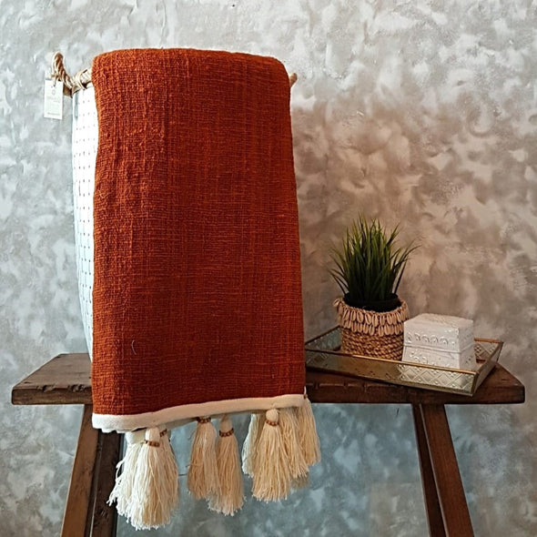 Brick Red Raw Cotton Throw With Natural Beaded Tassels - Canggu & Co