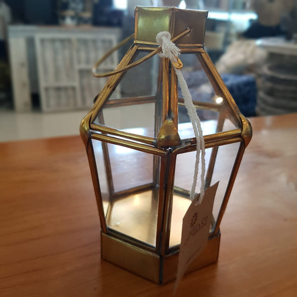 Brass Hexagon Shaped Terrarium Candle Holders - Canggu & Co