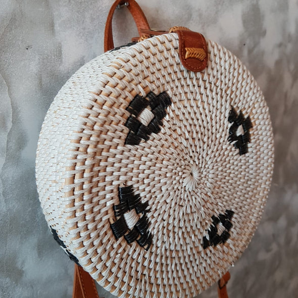 Round White Rattan Back Pack Style Bag - Canggu & Co