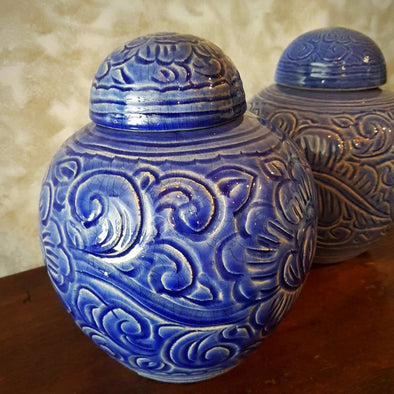 Hand Painted Eastern Style Glazed Pottery Vases - Canggu & Co