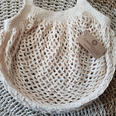 White Woven Cotton Round Shaped Macrame Bag