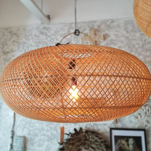 Woven Rattan Ellipse Shaped Ceiling Lamp Shades - Canggu & Co