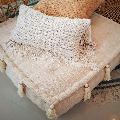 Square Natural Raw Cotton Pouff With Beaded Tassels - Canggu & Co