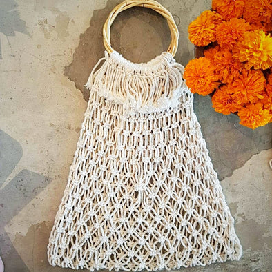 Natural Woven Cotton Macrame Bag With Bamboo Handles