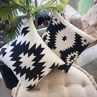 Black And White Aztec Pattern Cushions - Canggu & Co