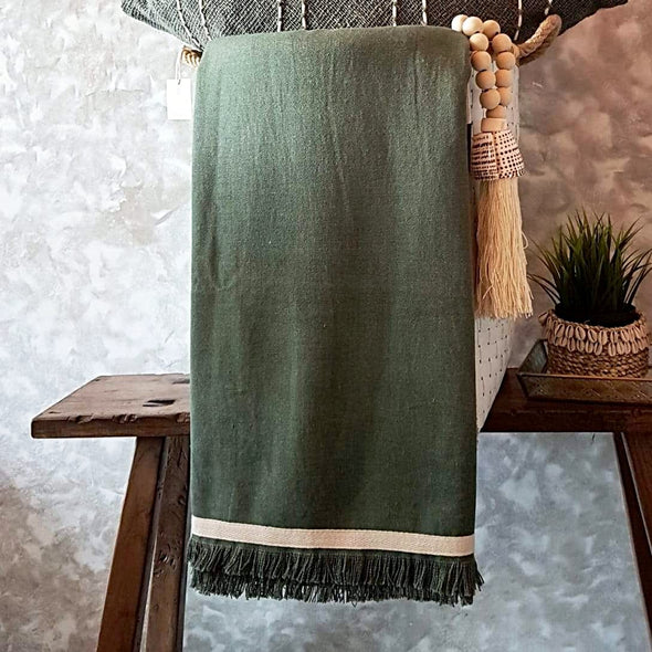Dark Green Cotton Throw With Fringe