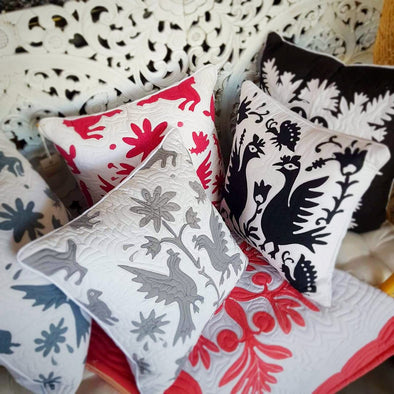 Embroided Design Cotton Linen Cushions - Canggu & Co