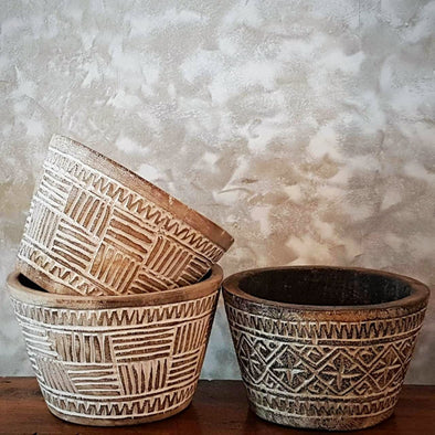 Small Tribal Patterned White Washed Wooden Pots - Canggu & Co