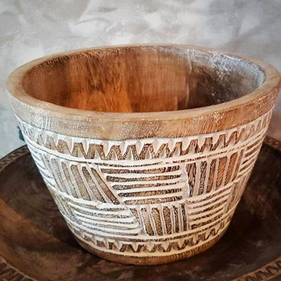 Small Tribal Patterned White Washed Wooden Pots