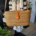 Woven Natural Rattan Cylinder Shaped Bag With Leather Strap