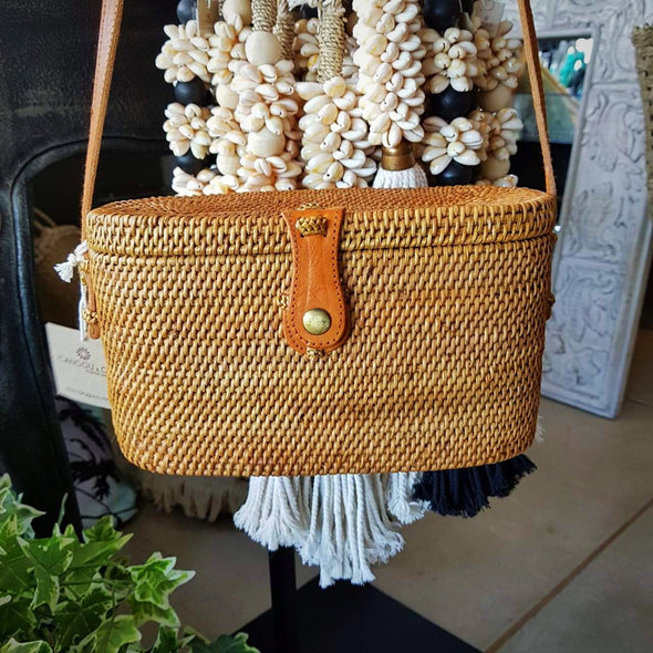 Woven Natural Rattan Cylinder Shaped Bag With Leather Strap - Canggu & Co
