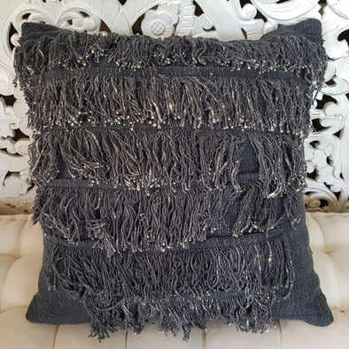 Orange & Navy Blue Raw Cotton Cushions With Fringe - Canggu & Co