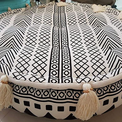 Round Aztec Pattern Linen Cotton Pouff With Tassels - Canggu & Co