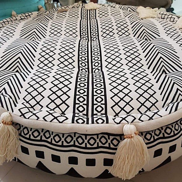 Round Aztec Pattern Linen Cotton Pouff With Tassels