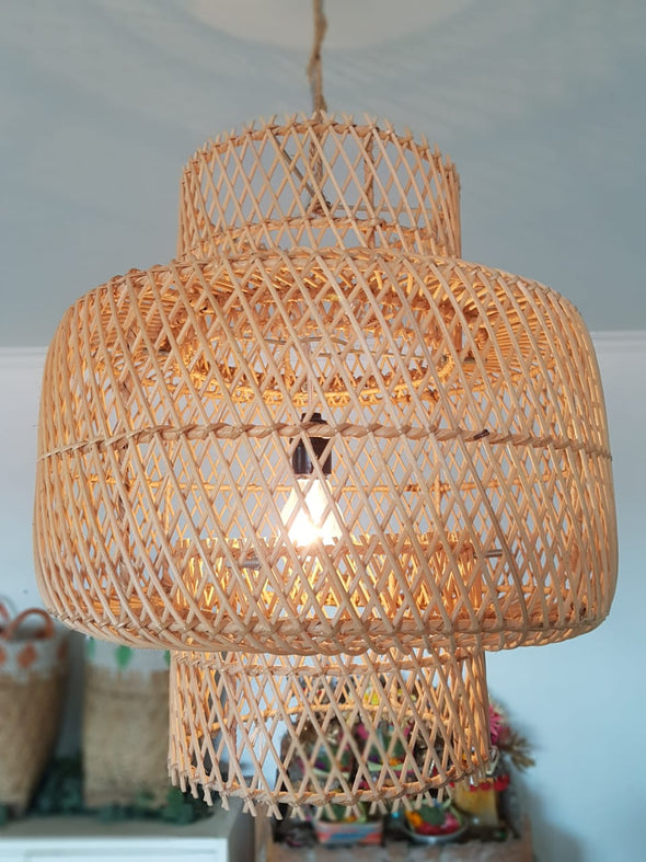 Woven Bamboo Round Shaped Ceiling Lamp Shades - Canggu & Co