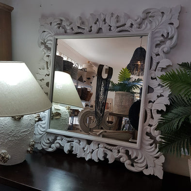 Large Square Carved Wooden Wall Mirror