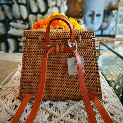 Woven Natural Rattan Basket Style Back Pack With Leather Straps