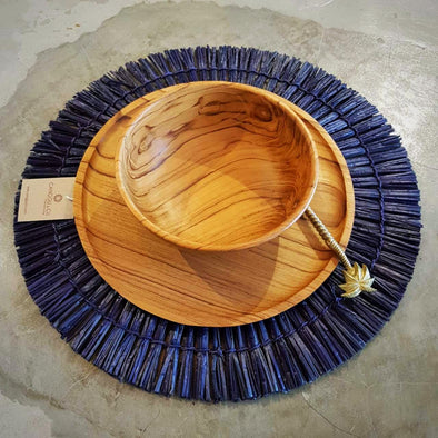 Natural & Blue Grass Straw Round Dining Placemats - Canggu & Co