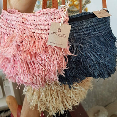 Woven Straw Shoulder Bag In Pink, Black Or Natural With Leather Strap