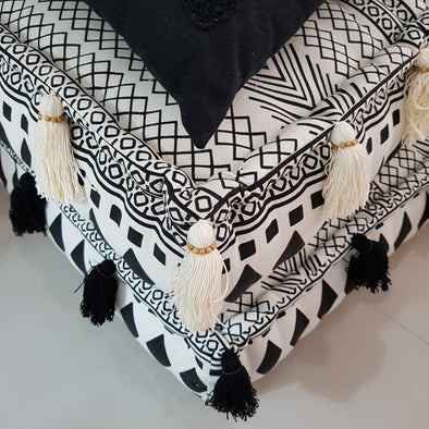 Square Aztec Pattern Linen Cotton Pouff With Tassels