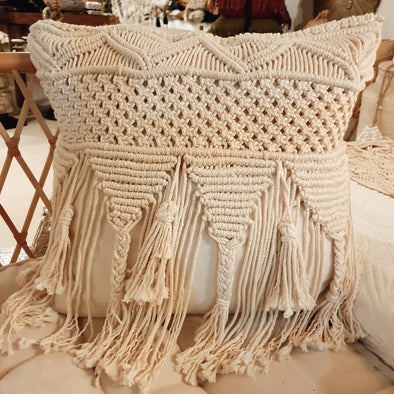 Woven Macrame On Linen Cushion
